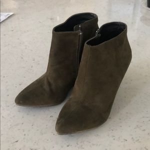 Faux Olive Suede Almond Toe Wedge Bootie - Sz 6